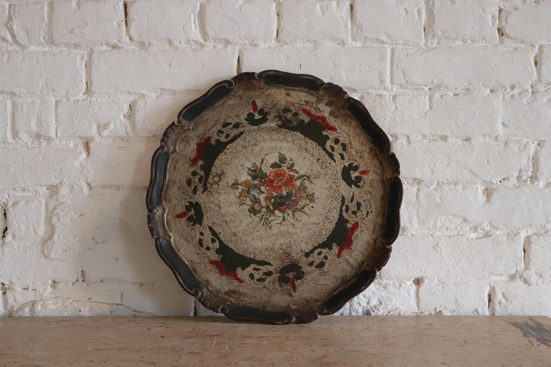 Round mid century Florentine tray