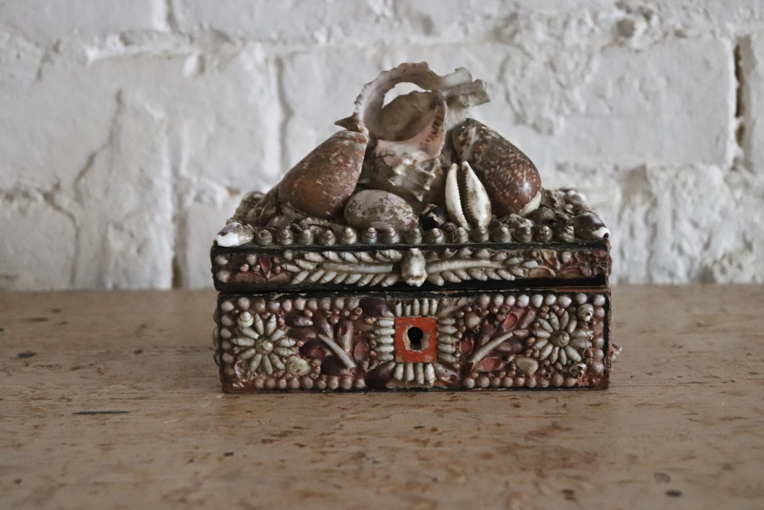 19th century shell covered box
