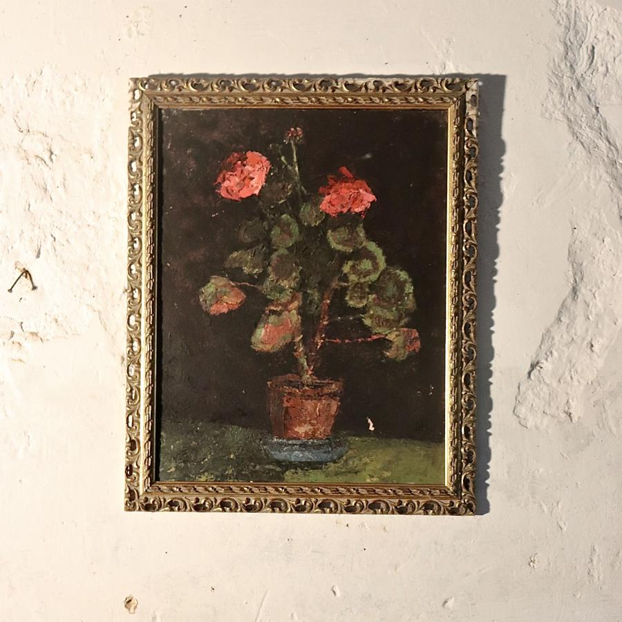 Framed floral oil