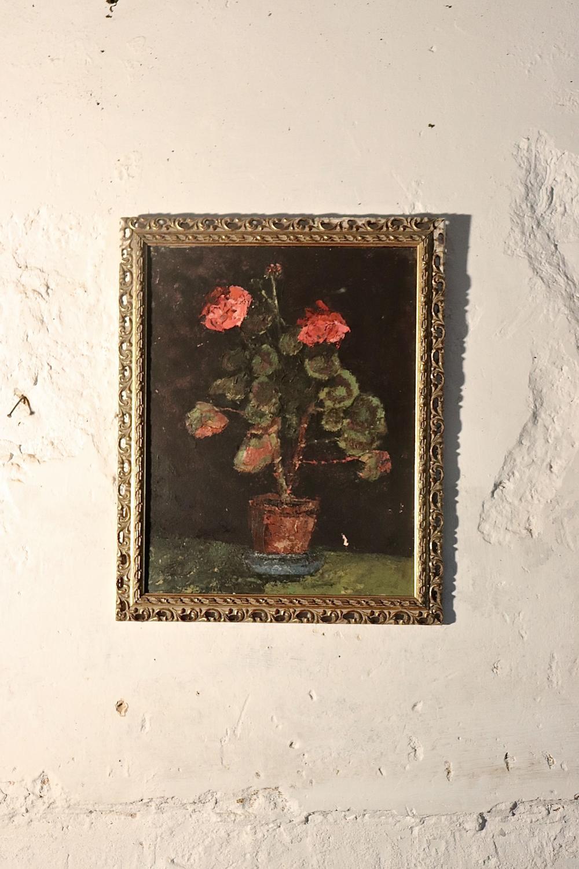 Framed floral oil