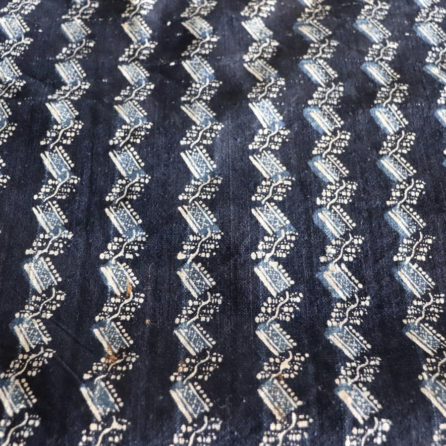 Indigo lengths of hand printed Chinese fabric