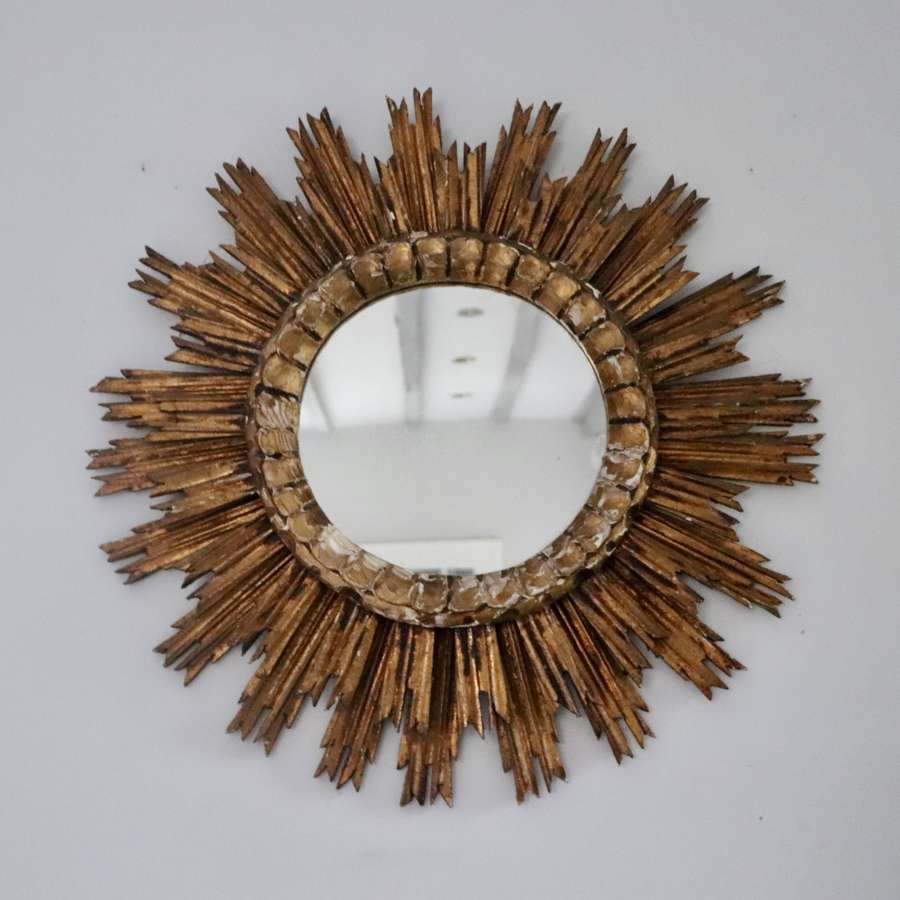 Mid century wooden sunburst mirror