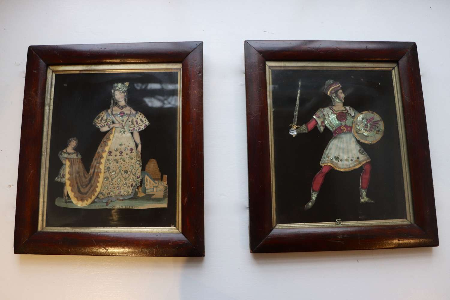 Pair of framed Victorian tinsel pictures