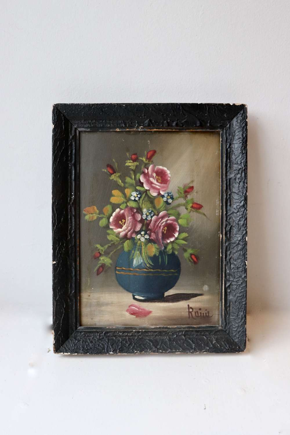 Small mid century framed floral painting