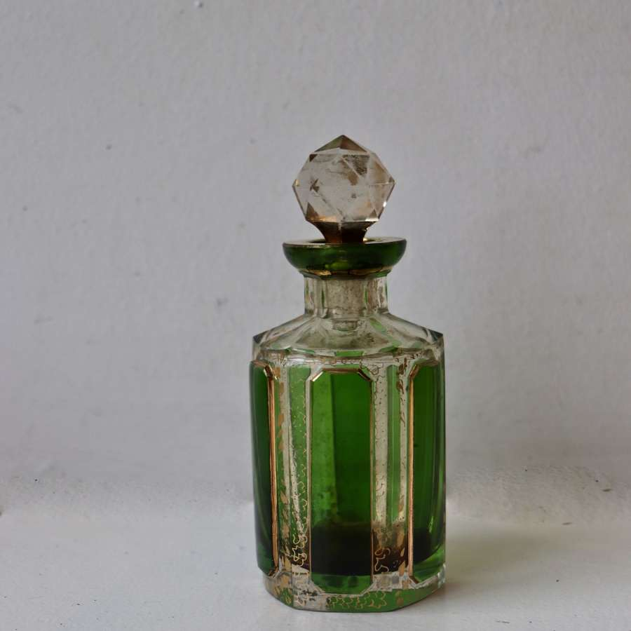 Victorian green and gilt scent bottle
