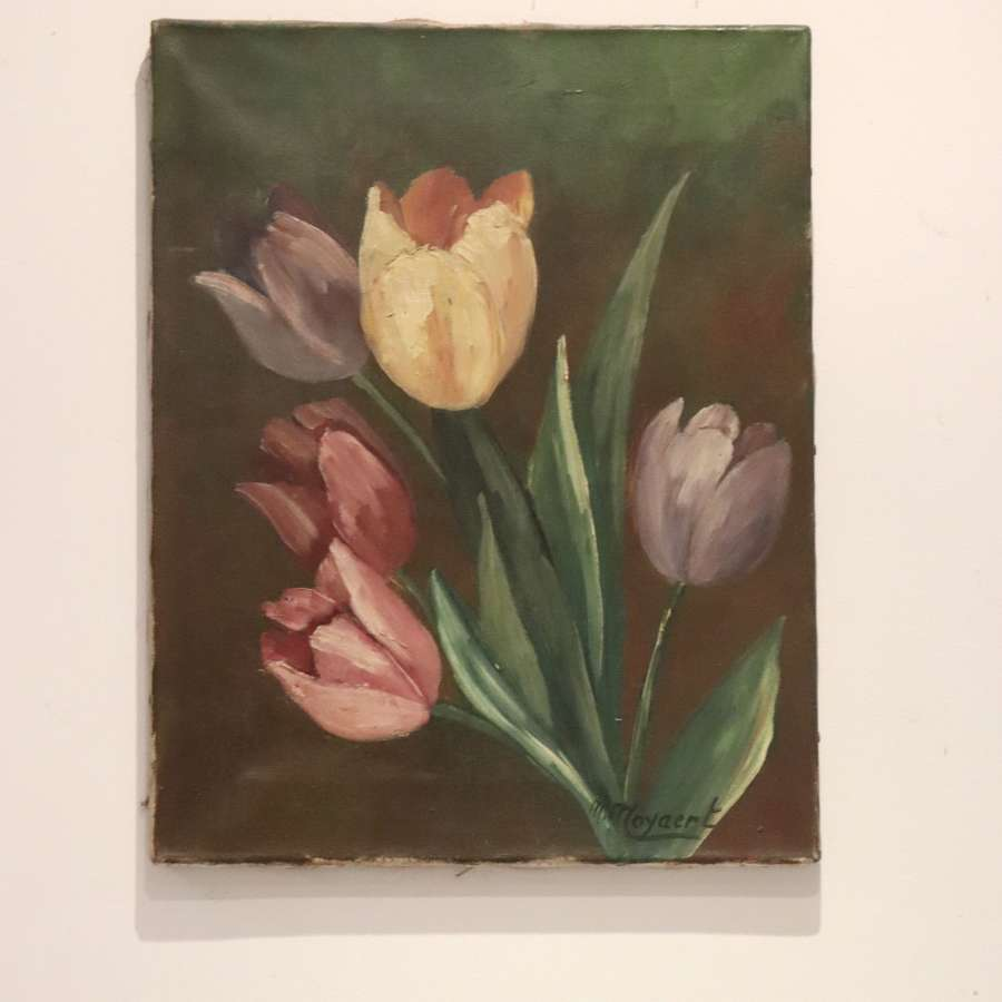 Mid century signed oil of tulips