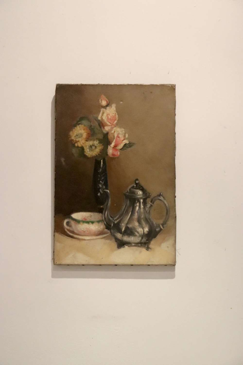 Mid century oil painting - tea pot and flower in vase