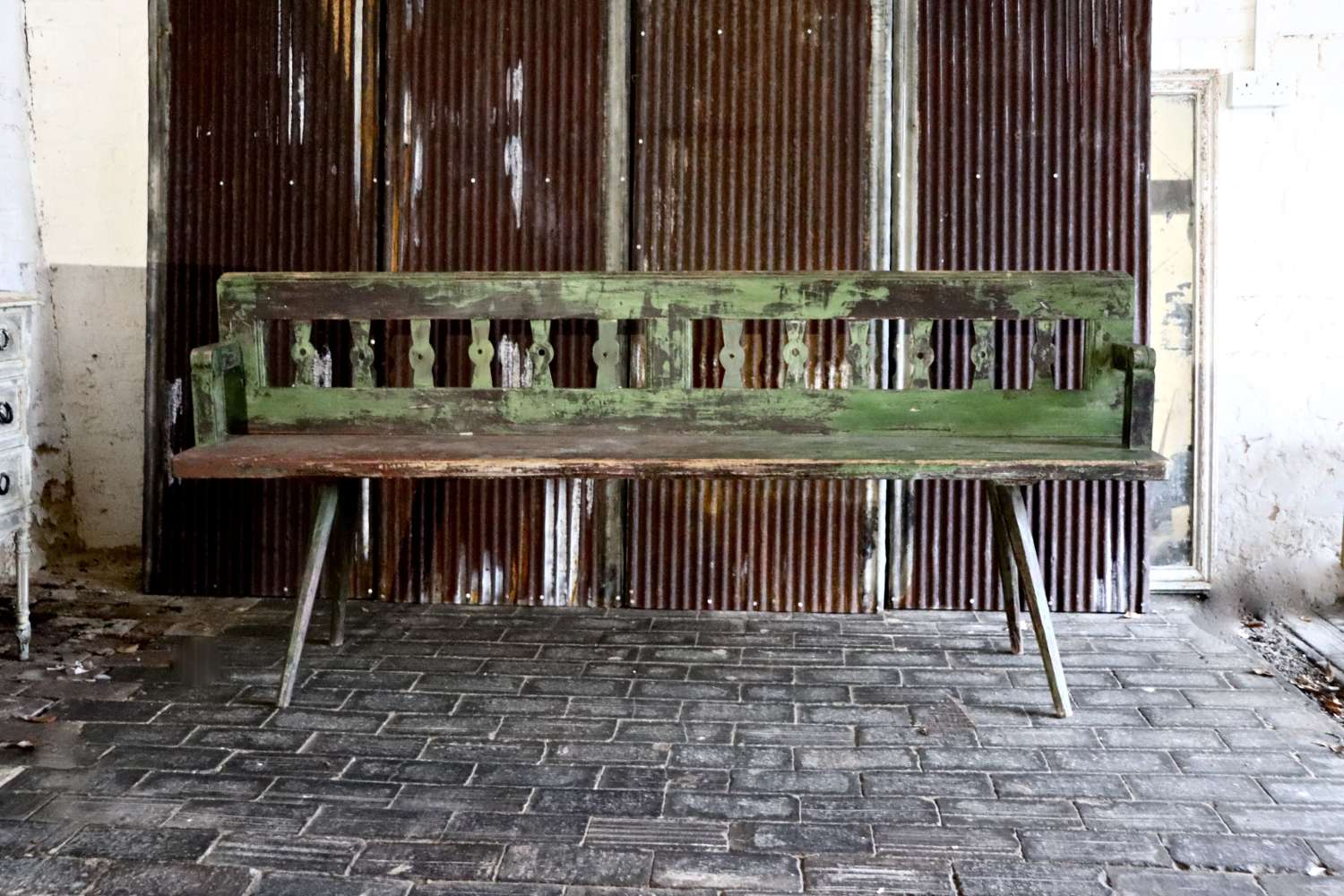 19th century green painted bench