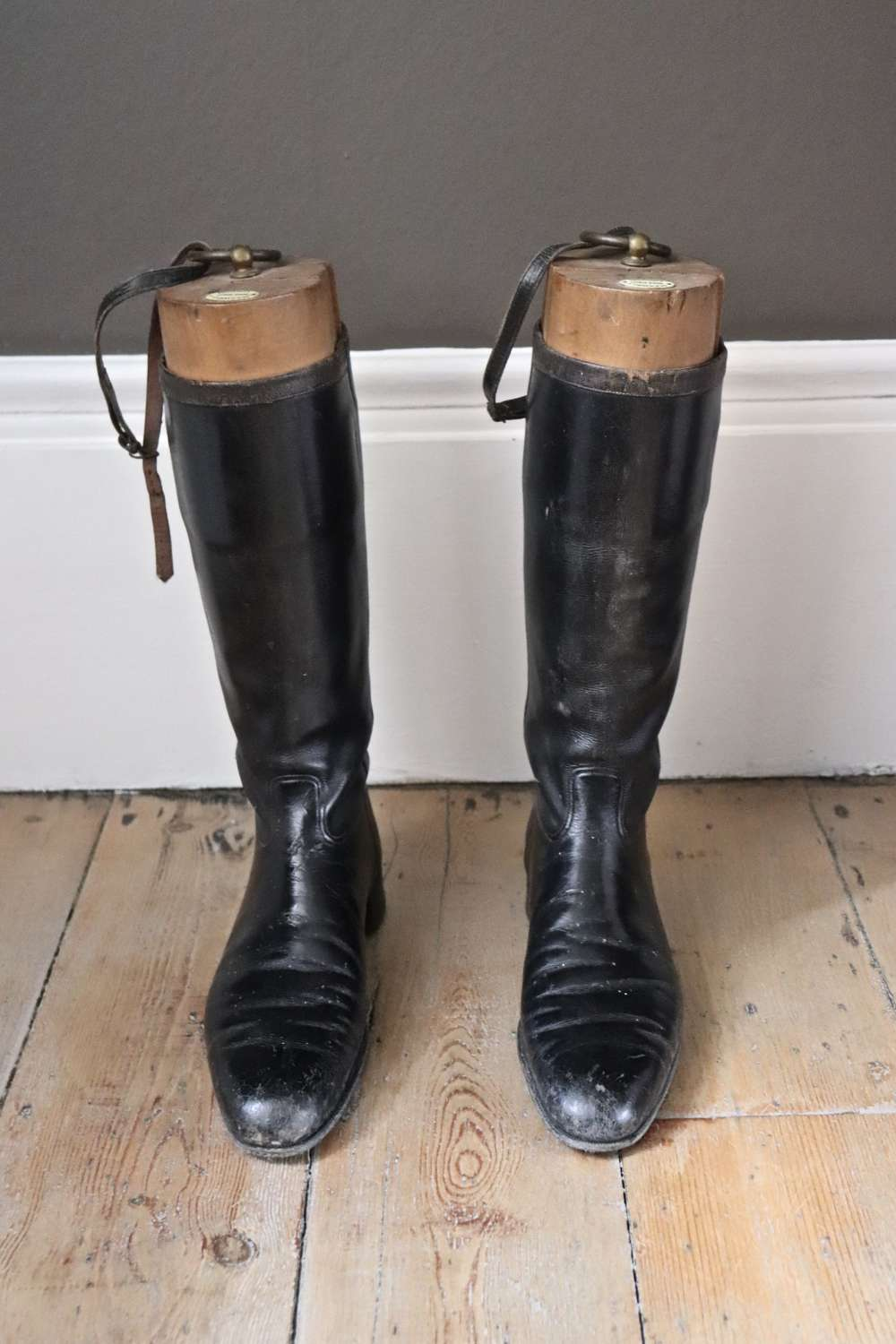 Pair of vintage leather riding boots with original boot trees