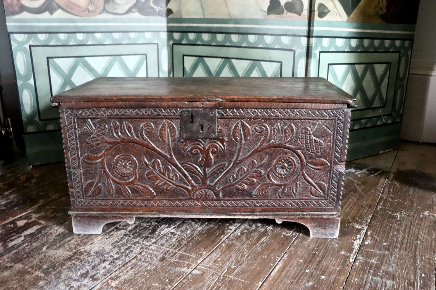 18th century carved oak bible box