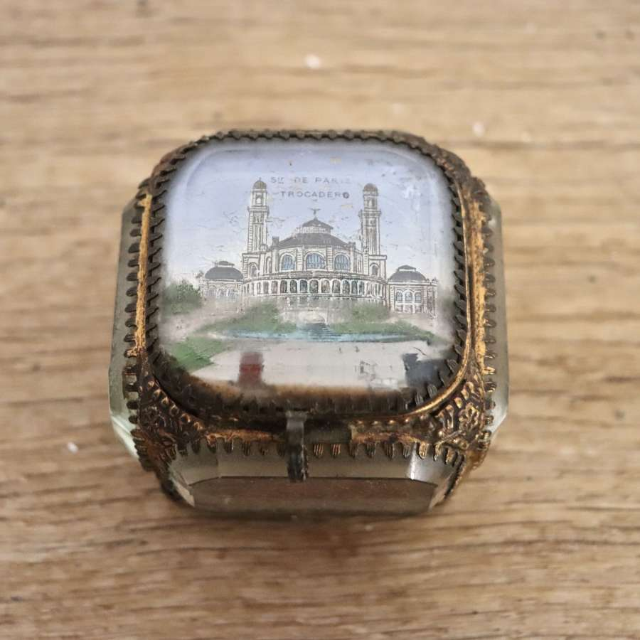 French 19th century ormulu and glass jewellery box