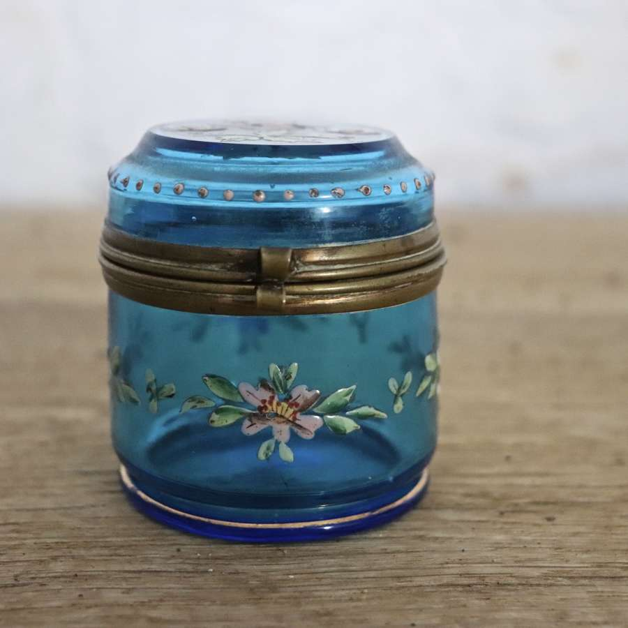 Blue glass enamelled trinket box