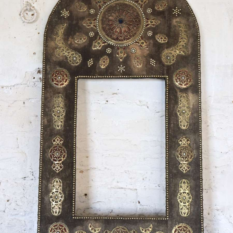 Mid century Moroccan or Turkish fabric mirror frame
