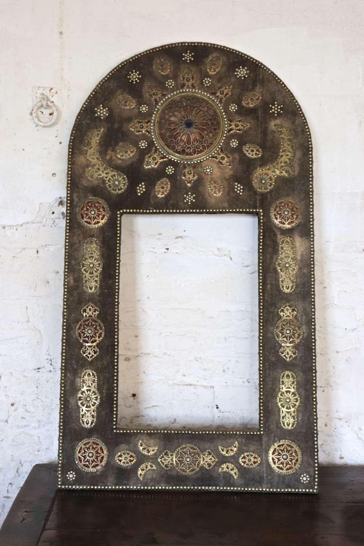 Mid century Moroccan or Turkish fabric mirror frame