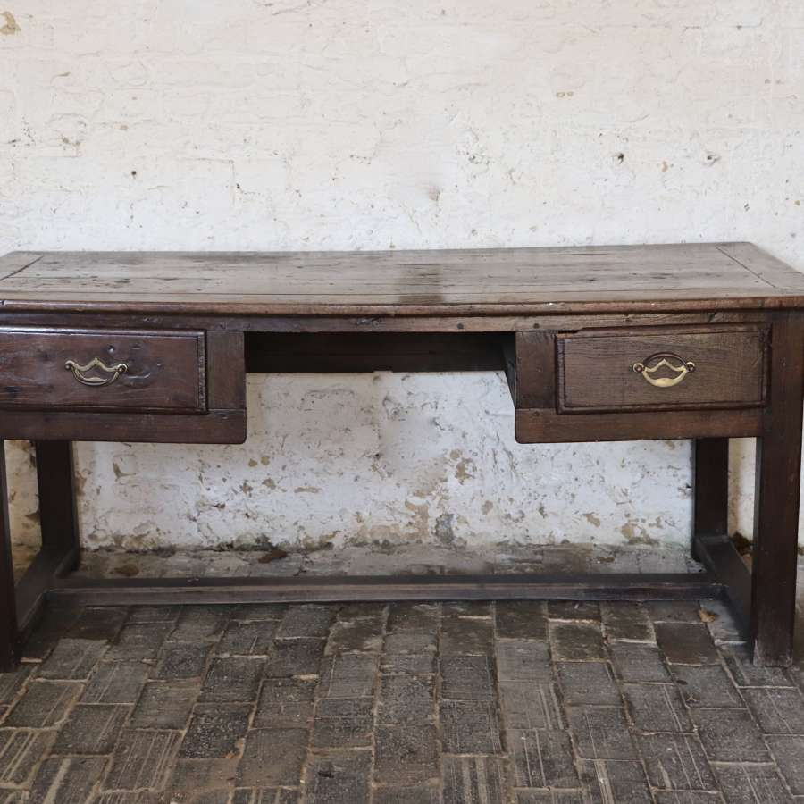 Large 19th century oak two drawer desk