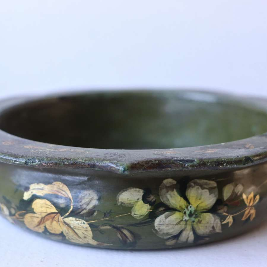 Early 20th century florally painted wooden bowl