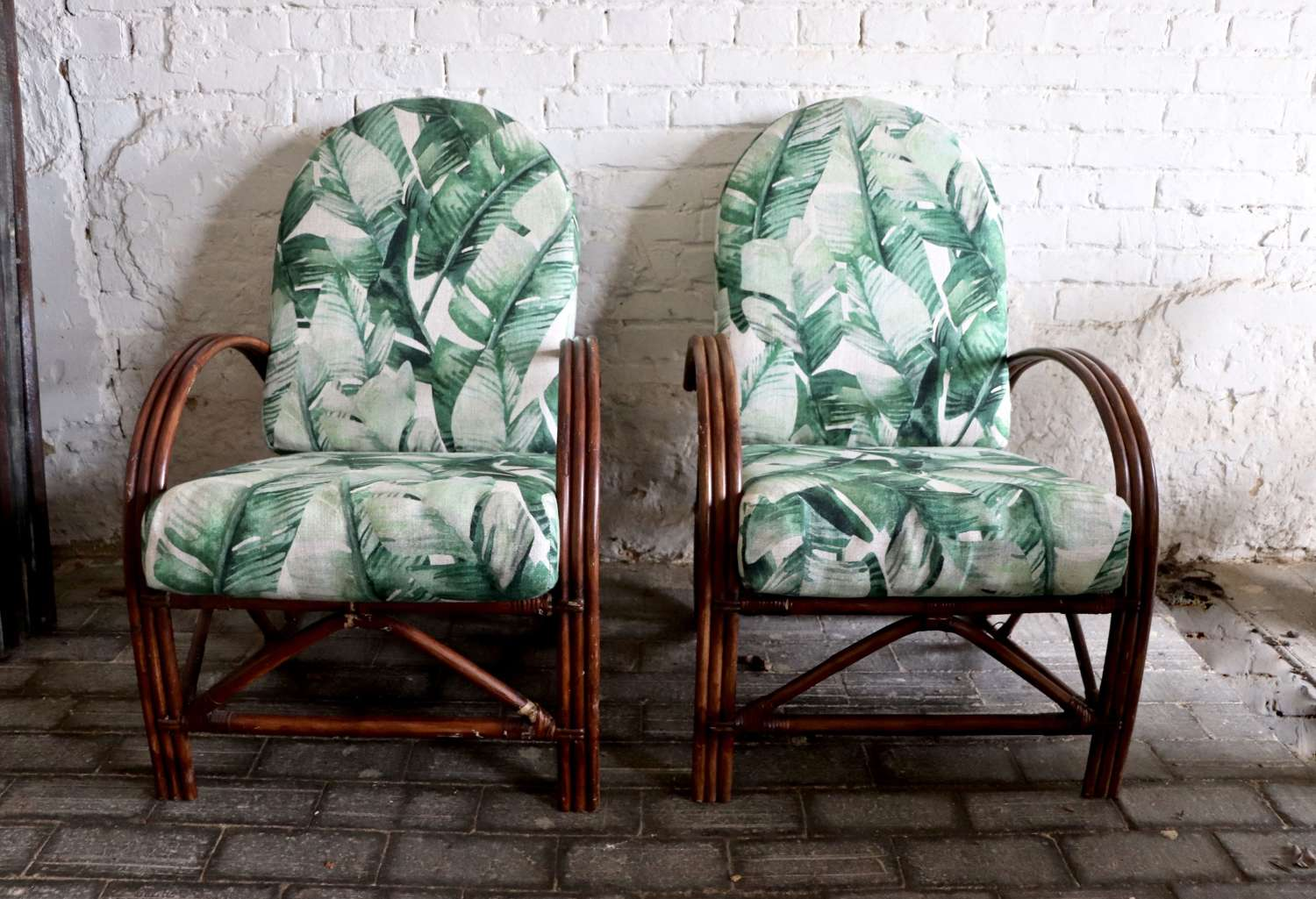 Pair of mid century rattan and bamboo conservatory chairs