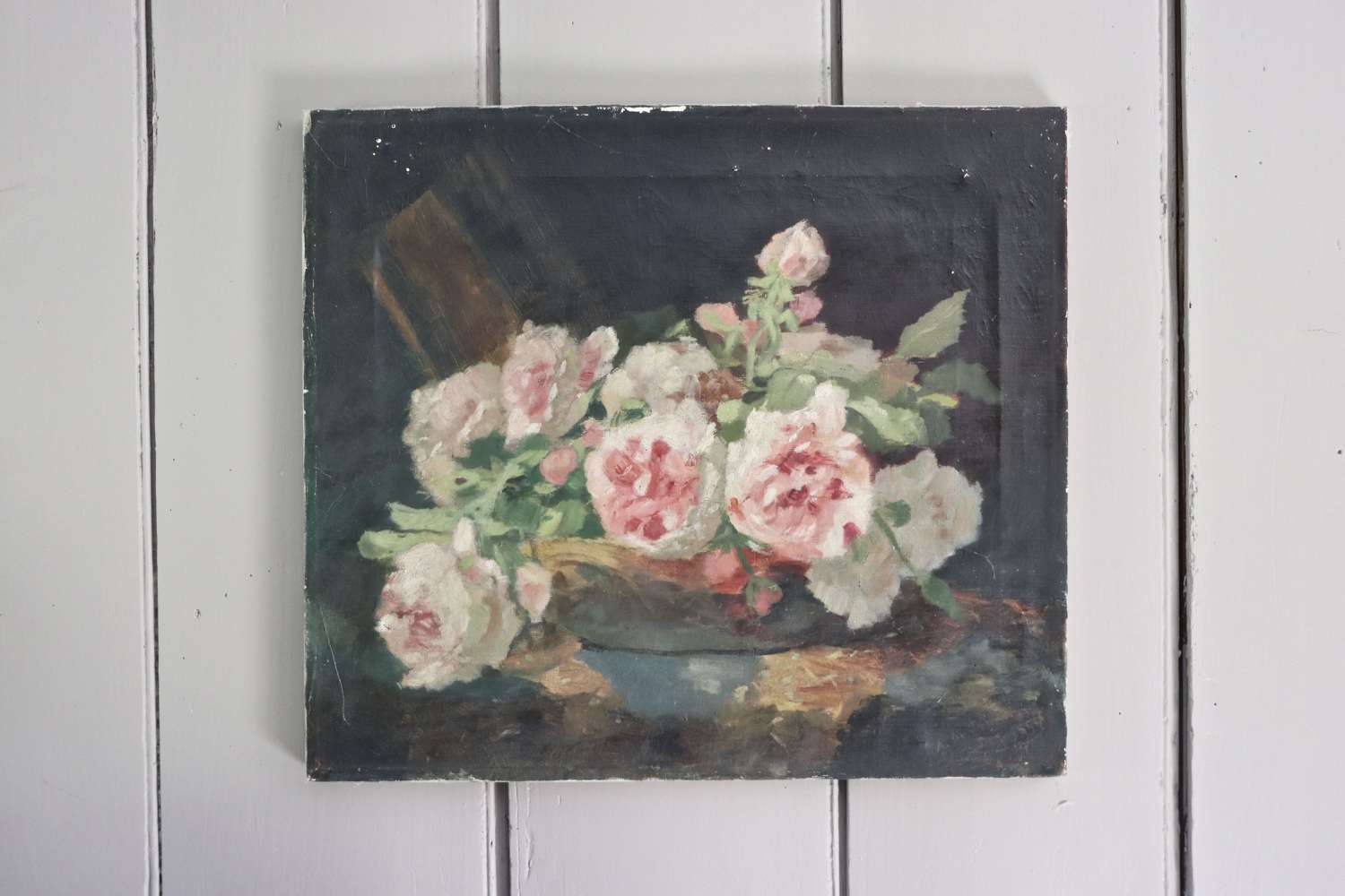 Mid century floral oil painting on canvas