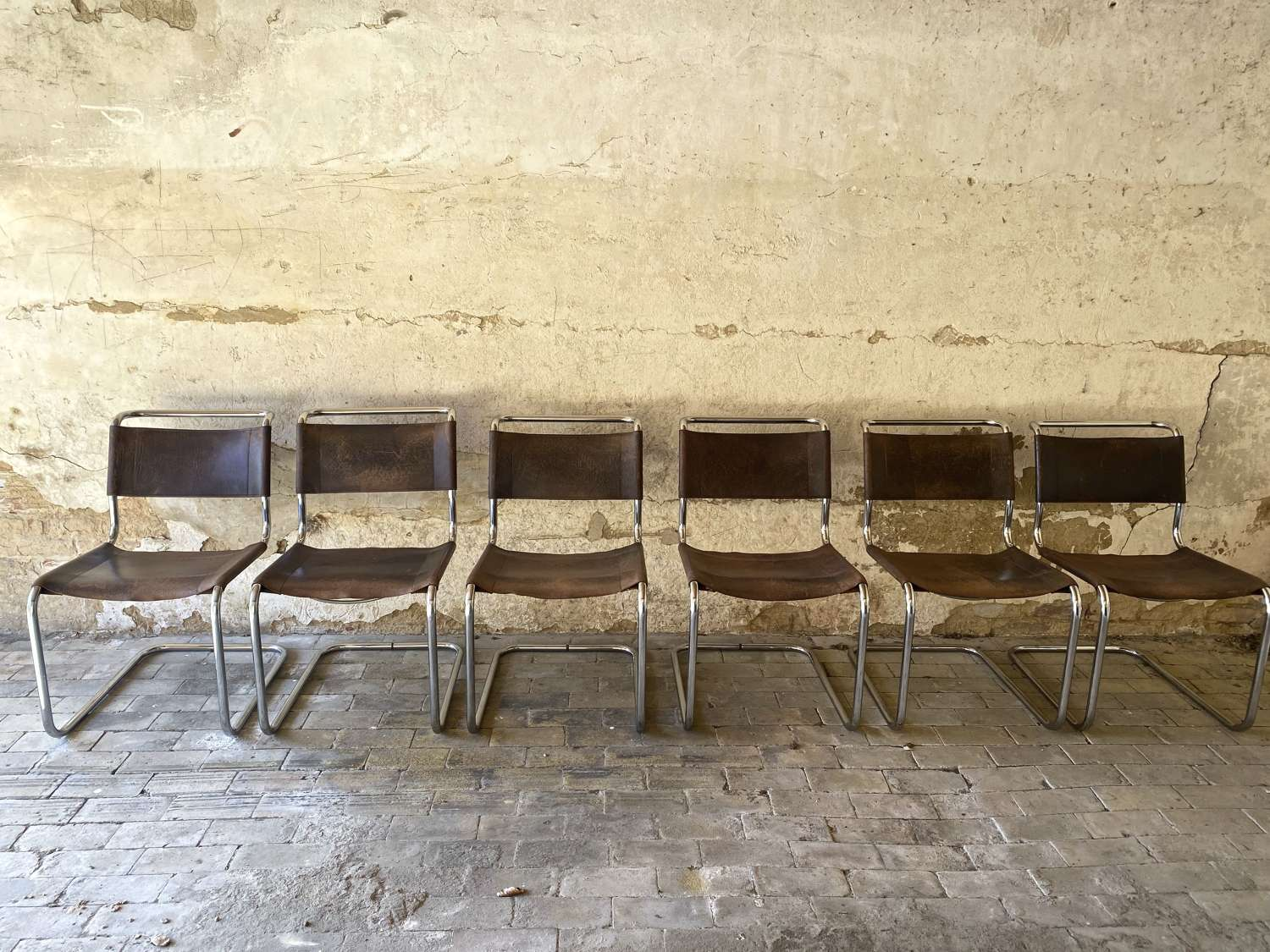 Set of six Mart Stam leather and chrome chairs for Thonet