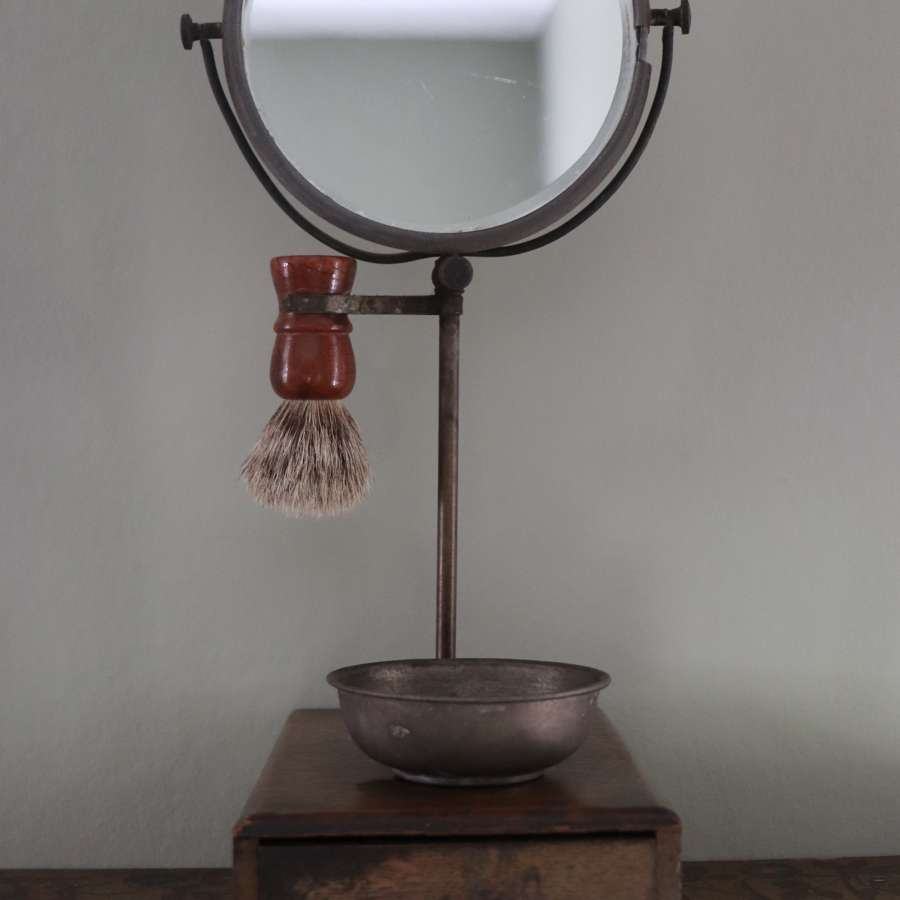 1920s gentleman's oak shaving mirror