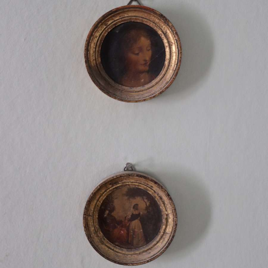 Pair of late 19th century oils in small round gilt frames