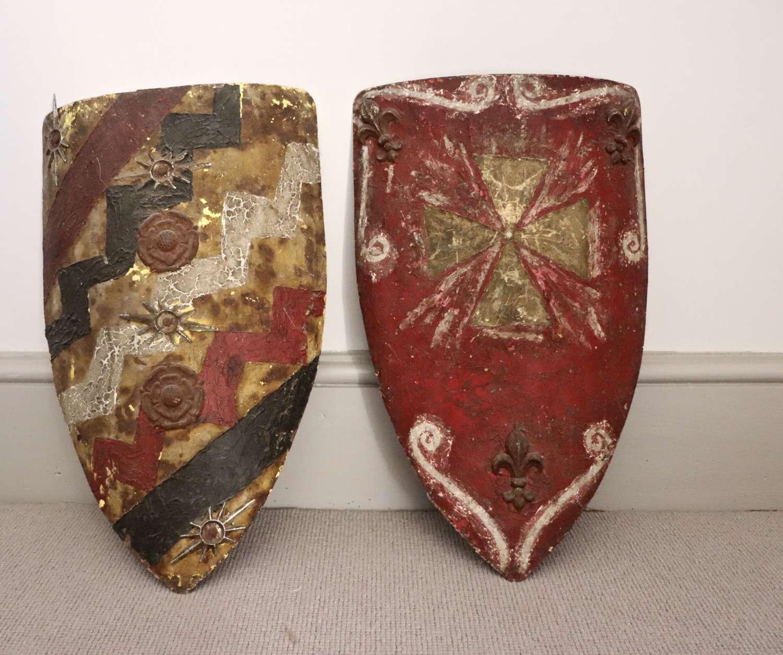 Pair of metal shields in original paint