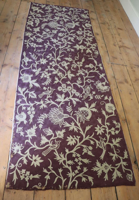 Crewel work fabric depicting birds and flowers