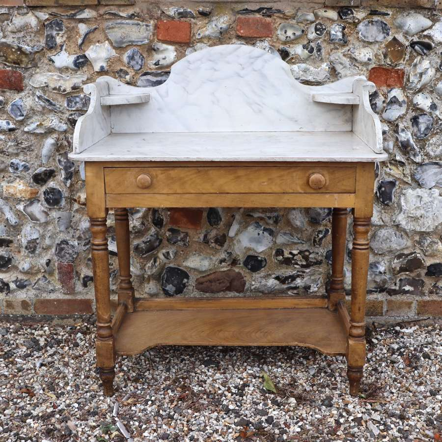 Victorian pine washstand with faux marble gallery top