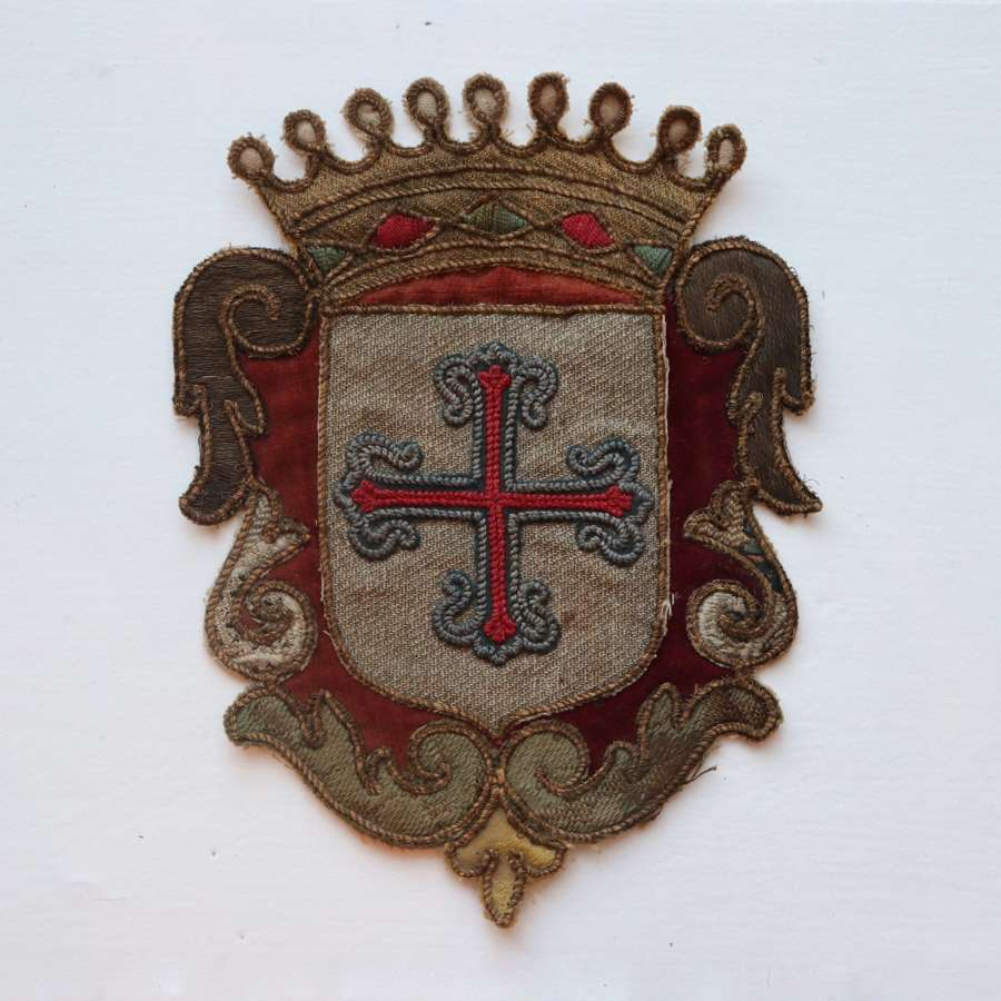 19th century embroidered shield with crown and cross