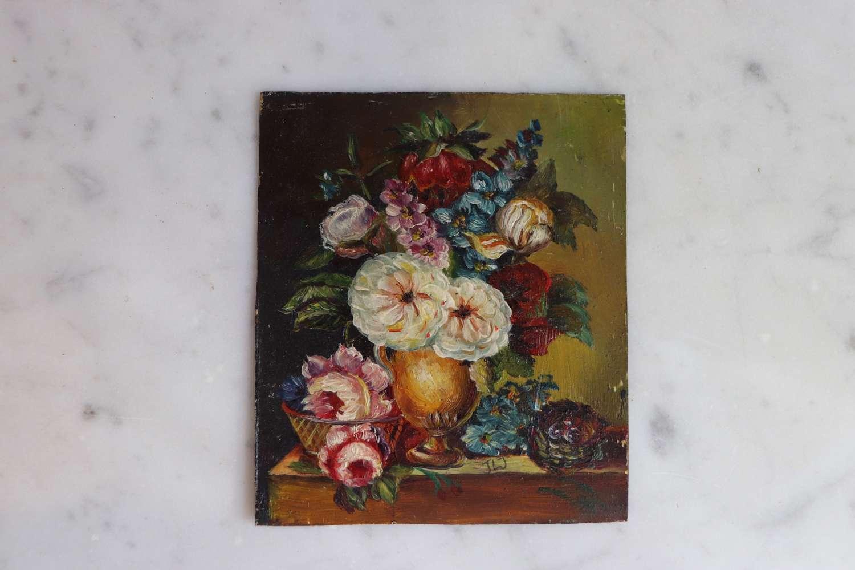19th century miniature floral oil on metal