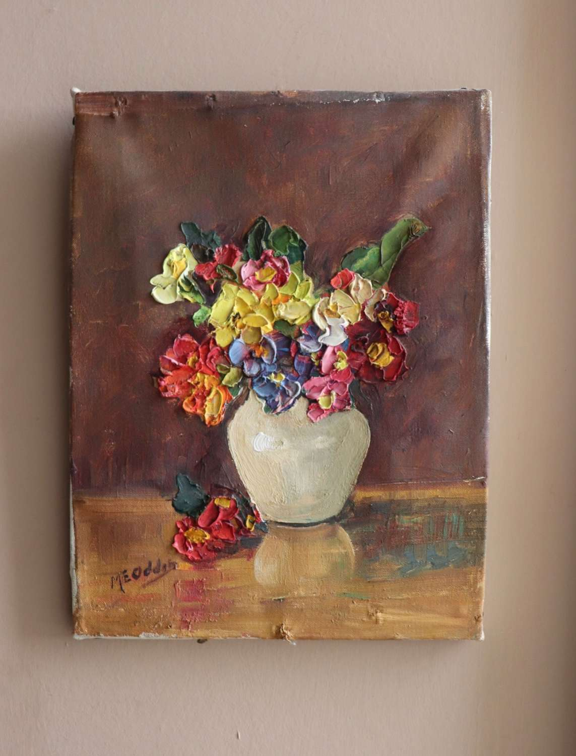 Small mid century floral oil painting on canvas