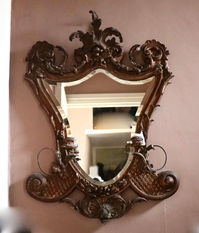 19th century gilt girandole mirror