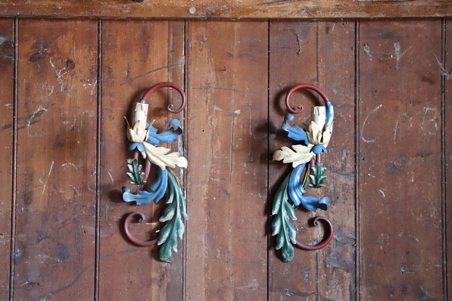Pair of Italian tole mid century wall sconces