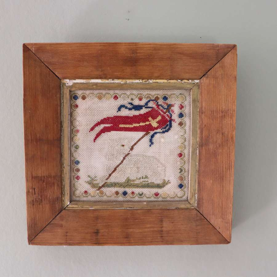 19th century needlepoint of lamb and flag in pine frame