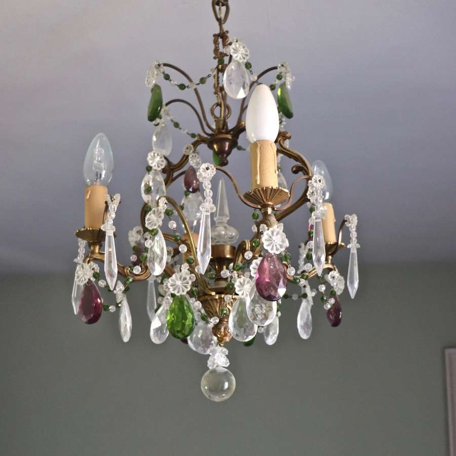 1940s Italian chandelier with purple and green drops