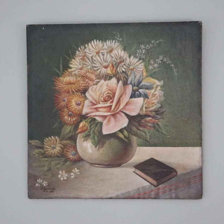 Early to mid century floral oil painting