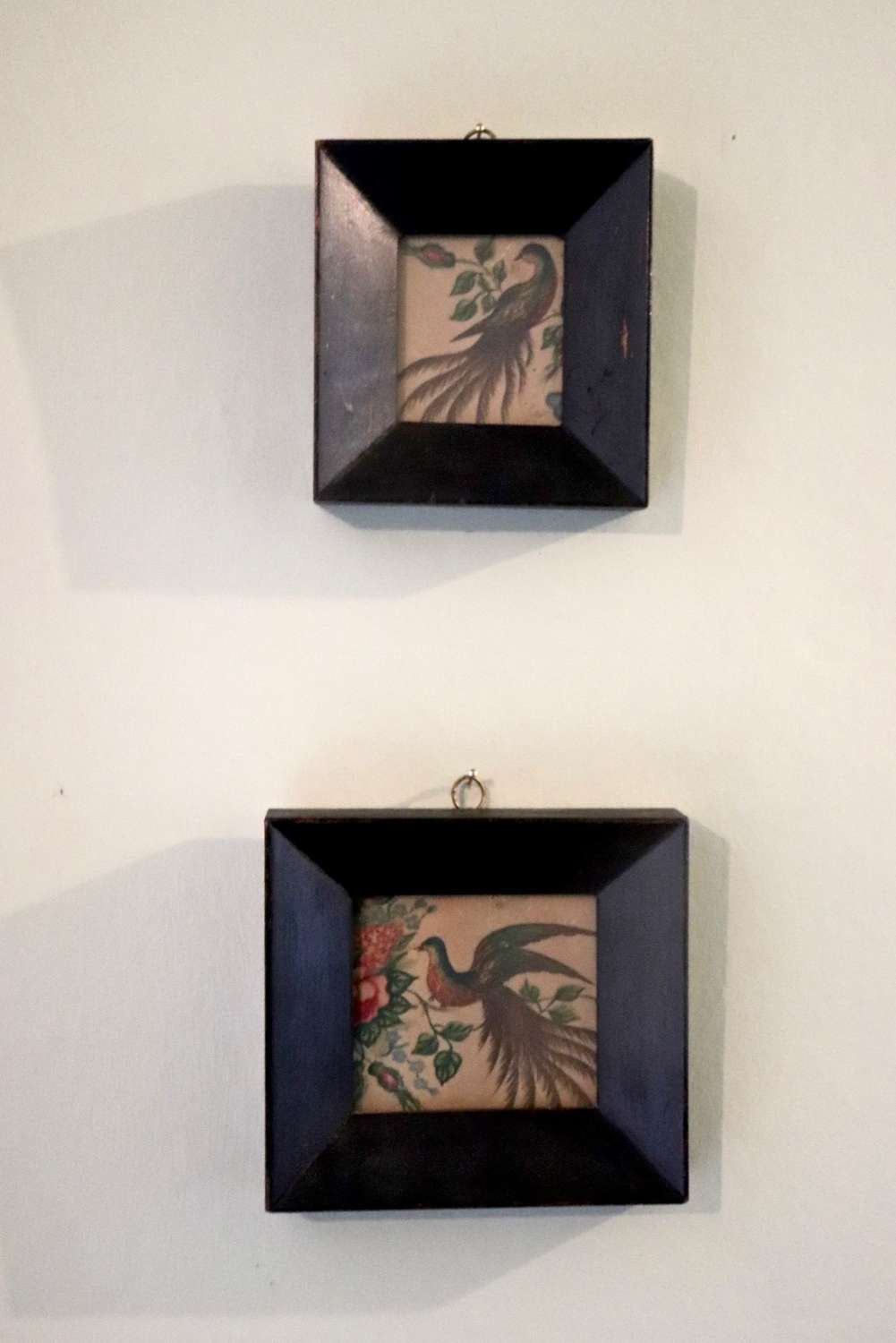 Two framed wallpaper sections depicting birds and flowers