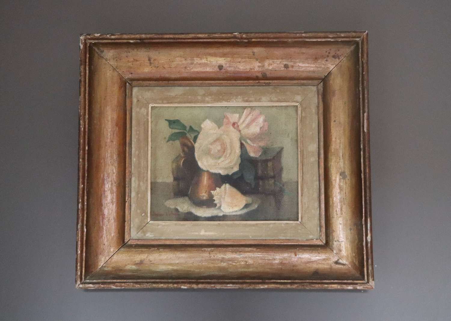 Mid century floral oil in beautiful pine frame