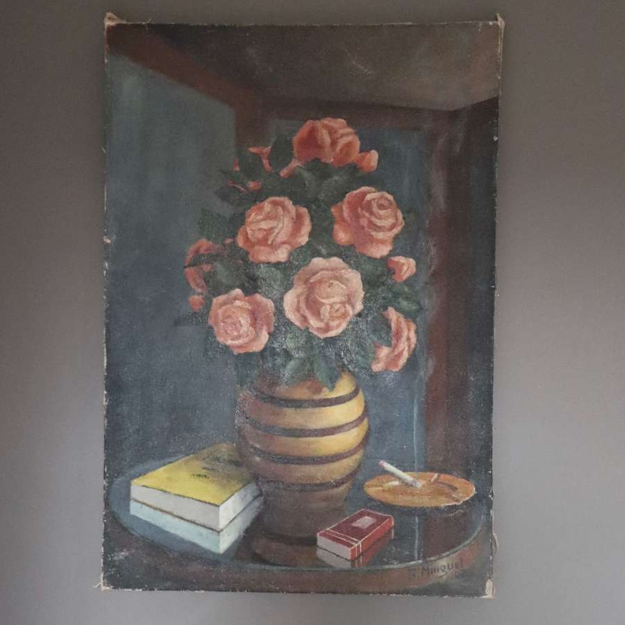 Signed still life oil of roses in a vase