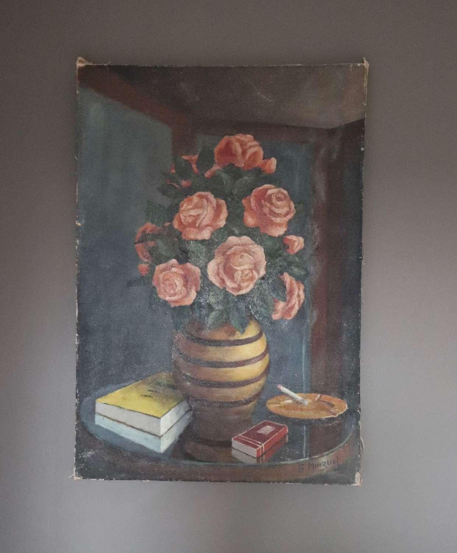 Signed still life oil of roses in a vase