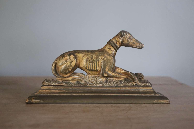 Metal lurcher dog on stand