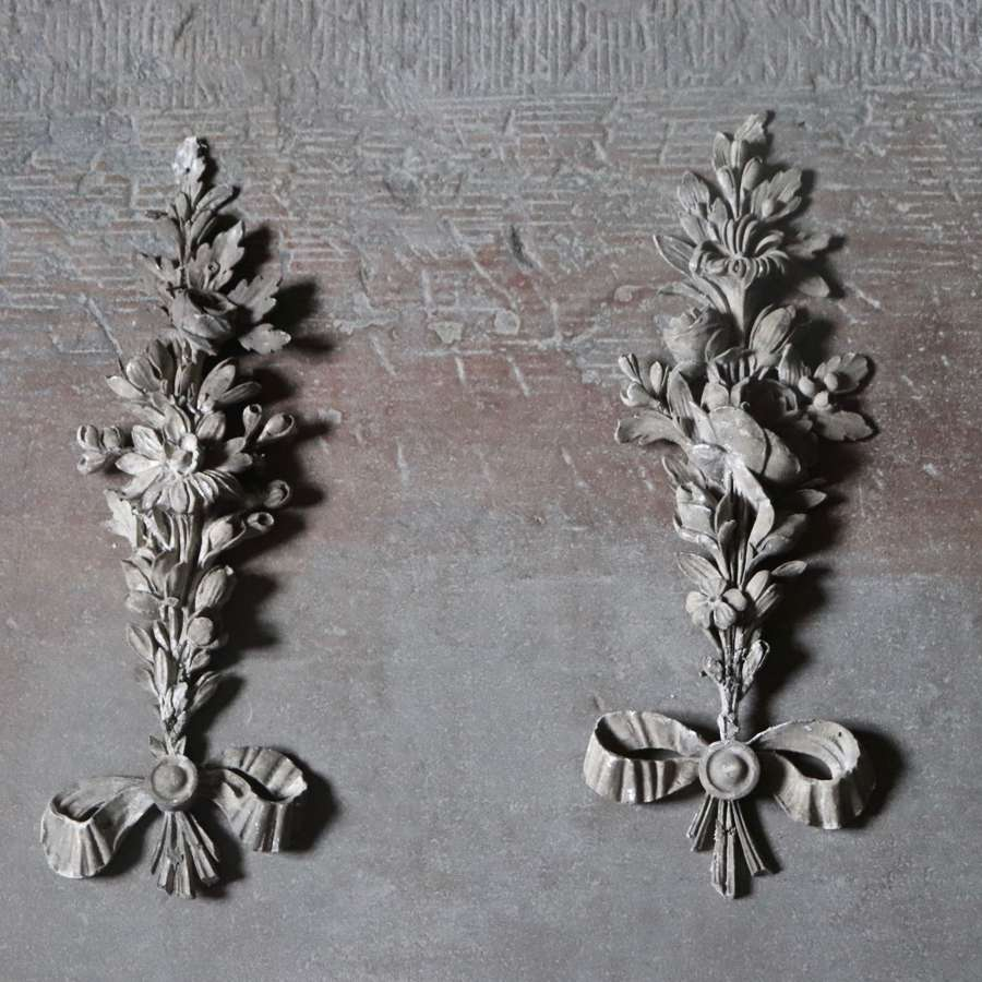 Two floral gesso and plaster swags