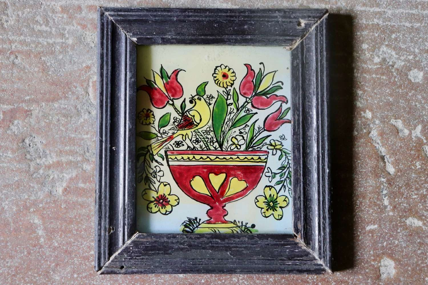 Reverse glass Indian paintings in old frames