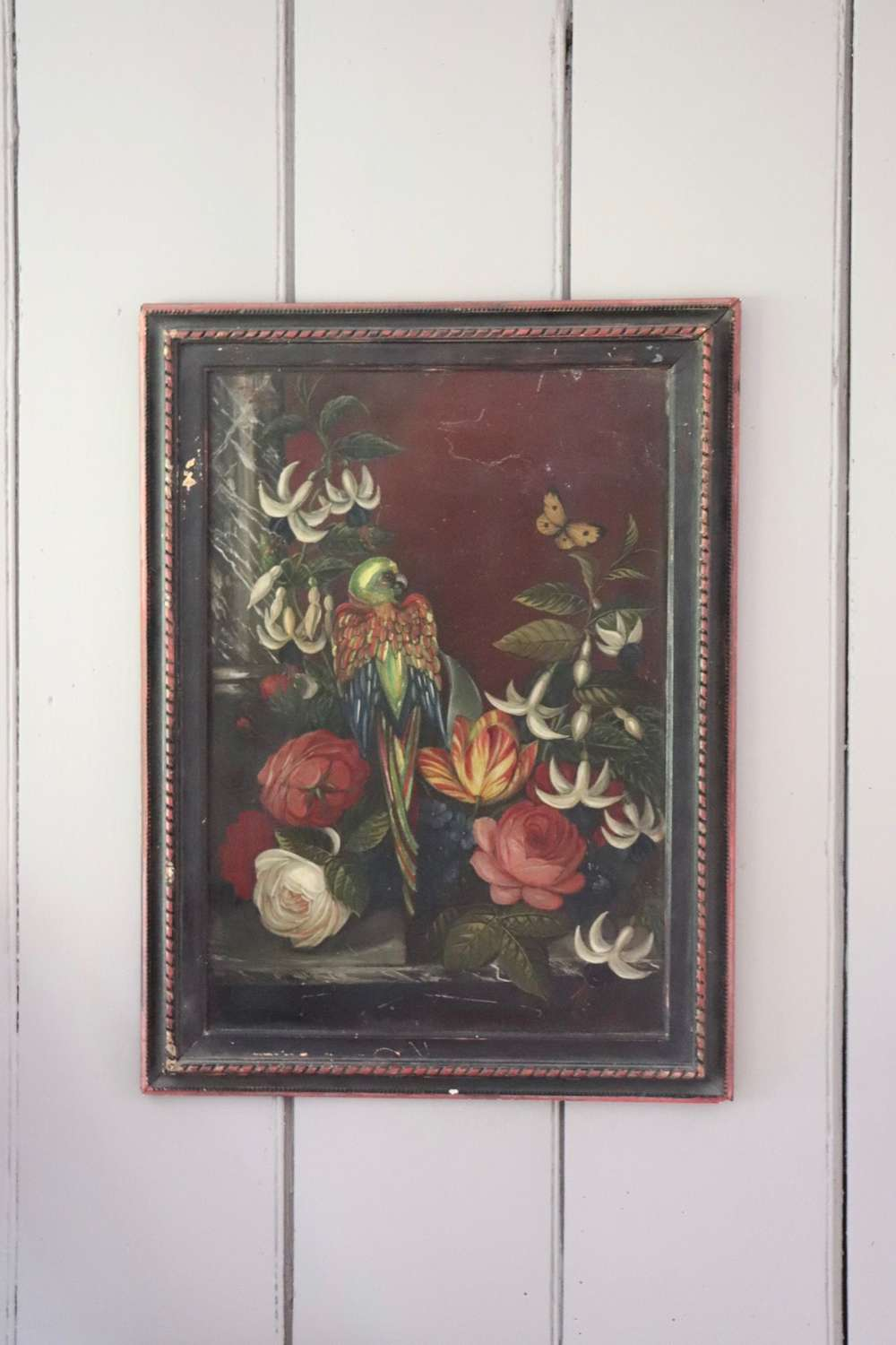 19th century framed oil of a parrot on tin