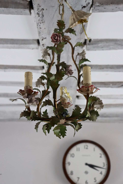 Mid century toleware chandelier