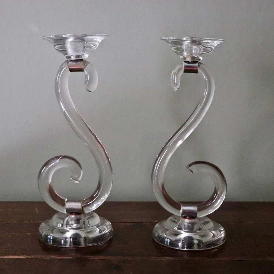 Pair of Art Deco inspired mid century s shaped candlesticks