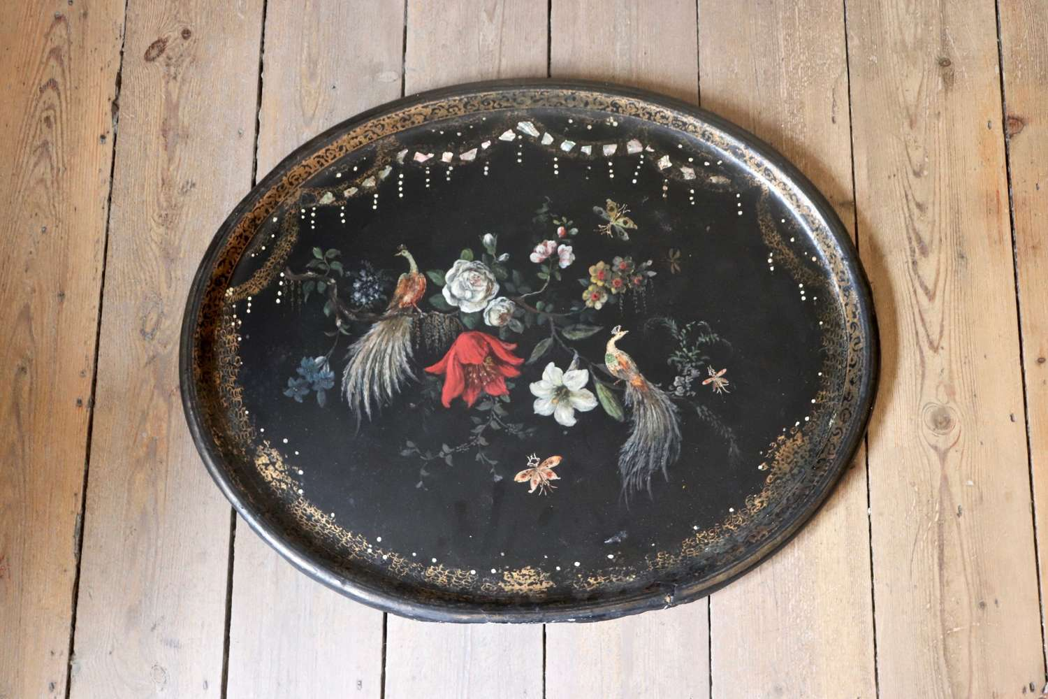 19th century papier maché tray with inlaid mother of pearl