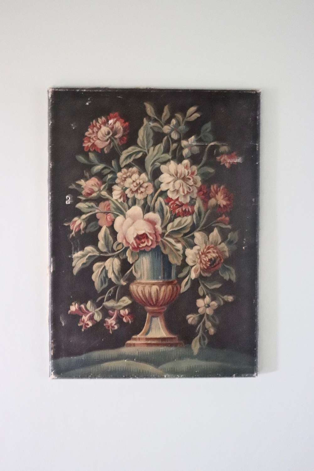 19th century French still life of flowers in a vase