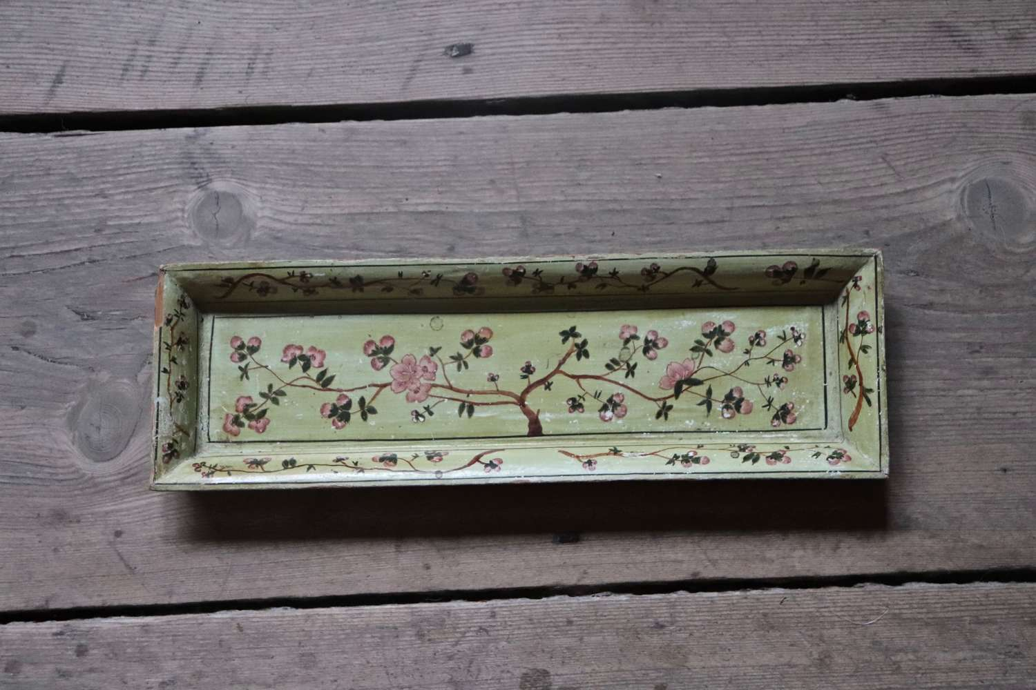 Indian floral wooden trinket tray