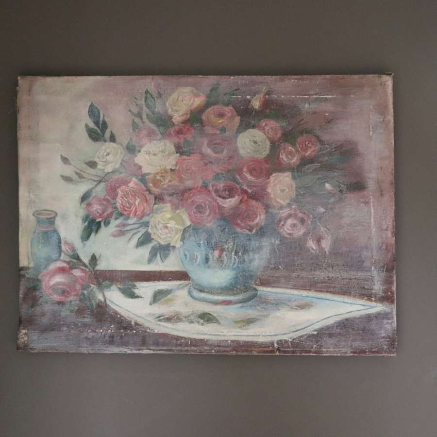 Floral oil painting on canvas